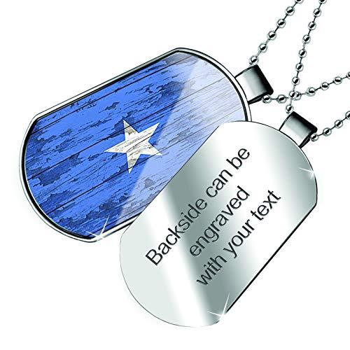 (NEONBLOND Personalized Name Engraved Flag on Wood Somalia Dogtag)