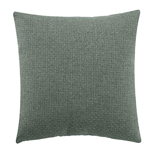 Jepeak Comfy Cotton Linen Throw Pillow Cover Rattan Weaved Pattern Cushion Case, Solid Thickened Soft Farmhouse Modern Home Decorative Square Pillow Case for Sofa Couch Bed (Sage Green, 18 x 18 Inch)