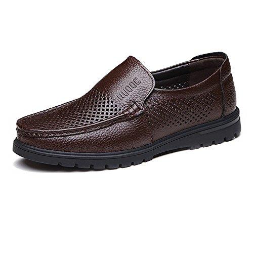 Hombre Piel Suela Parte Deslizante Bn 38 Plana Con Perforation De Planos Auténtica 5 Para Negro Perforación 2018 Vaca opción Superior Zapatos Shufang Hombre zYZFFq