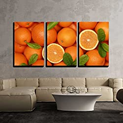 "wall26-3 Piece Canvas Wall Art - Collection of Fresh Oranges with Leaves Forming a Background - Modern Home Decor Stretched and Framed Ready to Hang - 24""x36""x3 Panels"