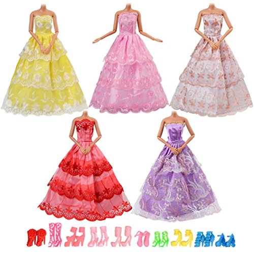 Dress Up Dolls Clothes (Asiv 5 Handmade Dresses and 10 Pairs of Shoes Wedding Party Gown Outfits Dress Up Game for Barbie Dolls for Girl's Xmas Birthday Gift)