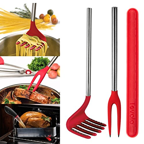 3 Piece Cooking Utensils Set By Tovolo: Silicone Pasta Rake, Basting Buddy, Nylon Fork, 3 Pack Bundle
