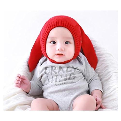 fbf500f4f70 Kehen Baby Girls Boys Rabbit Ear Knitted Hat Scarf Earflap Hood Scarves  Skull Cap