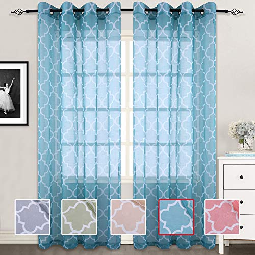 (Moroccan Print Sheer Curtains for Bedroom Linen Like Geometry Lattice Grommet Window Treatment Semi Drapes 84 Inches Panel Set for Living Room,52