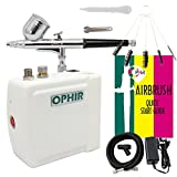 Ophir Portable Mini Airbrush Air Compressor Kit Dual Action Airbrush Set with Cleaning Brush Adjustable Spray Gun for Hobby Model Crafts (White)
