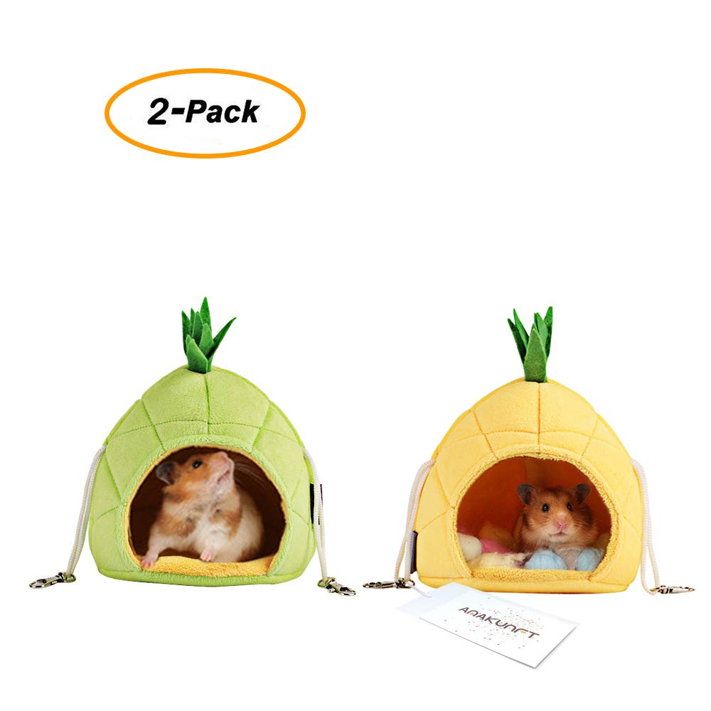 2 Pack of Hamster Bedding, Sugar Glider Cage Accessories Hammock, Hamster House Toys for Small Animal Sugar Glider Squirrel Hamster Rat Playing Sleeping
