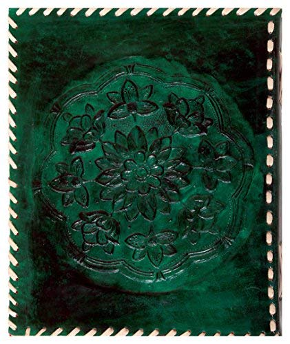 Imperial Leather Journal Writing Notebook with Handmade Paper 9 X 7 Inches Embossed Celtic Tree Side Stitched Green