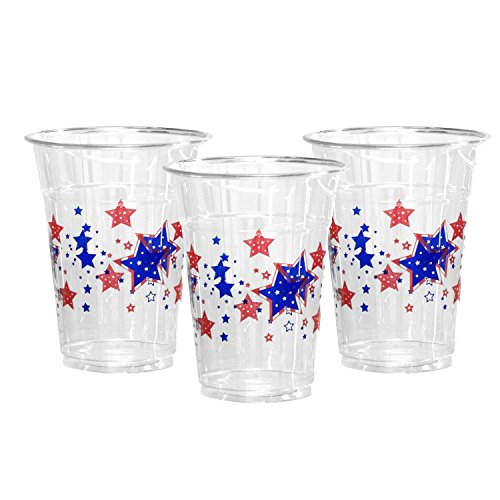 Party Essentials 20 Count Soft Plastic Printed Party Cups, 16-Ounce, Patriotic Stars