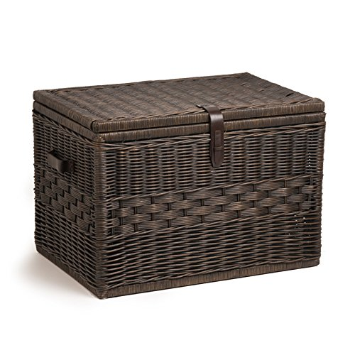 The Basket Lady Deep Wicker Storage Trunk | Wicker Storage Chest, XL, Antique Walnut Brown (Trunk Basket)