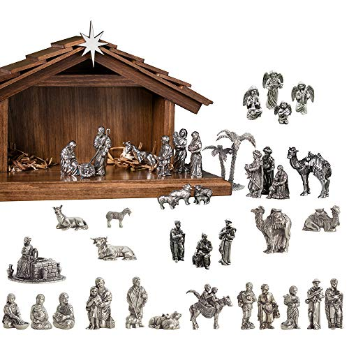 Nativity Bethlehem Collection (Danforth - Complete Nativity Collection Set - Pewter - Handcrafted - Wooden Creche - Made in USA)