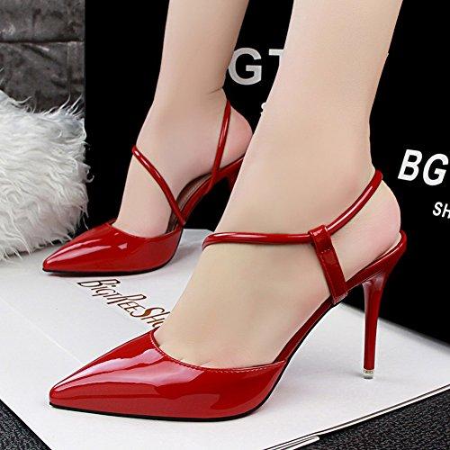 Rosso Delle Donne Campagna Dalla Della Alto Vestito Sandalo 66 Di No Pompa Caviglia Del Tacco Cinghia qfcgwZvF