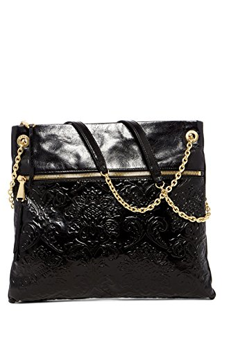 HOBO Vintage Dayna Crossbody Shoulder Bag (Damask Embossed Black) by HOBO