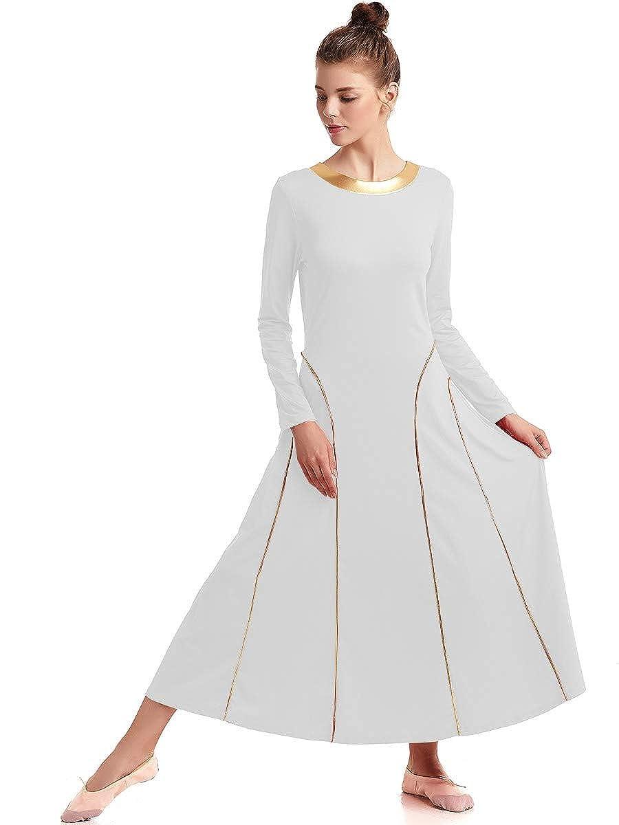 FMYFWY Girls Liturgical Praise Lyrical Dance Robe Dress Loose Fit Full Length Metallic Seamed Long Sleeve Worship Costume
