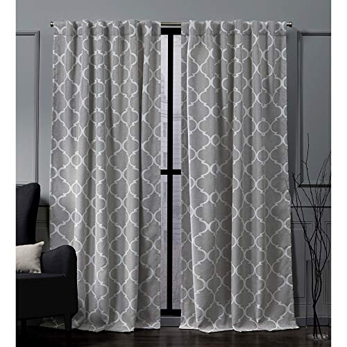 Nicole Miller Treillage Woven Blackout Hidden Tab Top Curtain Panel, Ash Grey, 52x96, 2 Piece