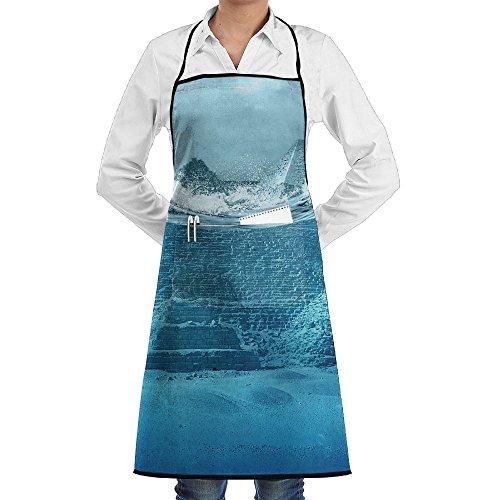 Kitchen Bib Apron Neck Waist Tie Center Kangaroo Pocket Pyramids Of Egypt In Waves Storm Waterproof (Storm Waterproof Uniform)