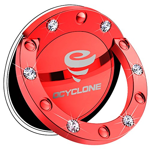 OCYCLONE Cell Phone Ring Holder Gilrs/Women, Glitter Cute Bling Diamond 360° Rotation Finger Ring Grip Stand for iPhone iPhone Xs Max Xr X 8 7 Plus 6S 6, Samsung Galaxy Note 9 S9 S8 Plus - Red