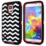 Minnesota Computers S5 Armored Protective Case 3-in-1 Hybrid Cover Works with Galaxy S5 / SV / i9600 2014 (Chevron Red)