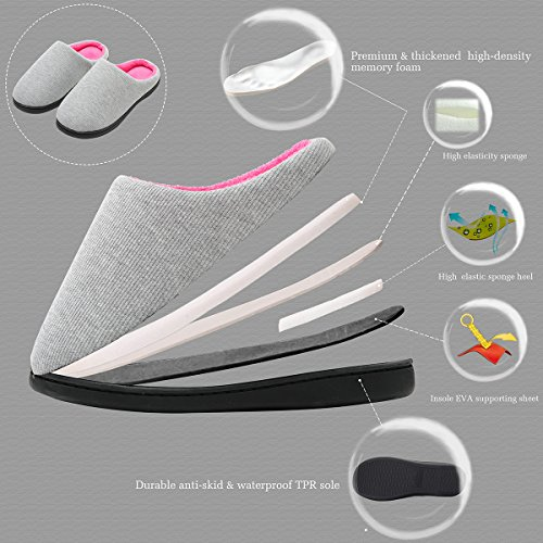 Gray Rose Foam Anti Cozy House Slipper Two skid Memory Comfort Tone Women's Slippers wqPAg7x