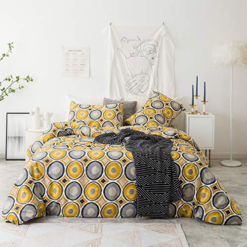 YuHeGuoJi 3 Pieces Duvet Cover Set 100% Cotton King Size Yellow and Grey Geometric Pattern Bedding Set 1 Polka Dot Print Duvet Cover with Zipper Ties 2 Pillowcases Hotel Quality Soft Comfortable (Cover Grey Duvet And Yellow)