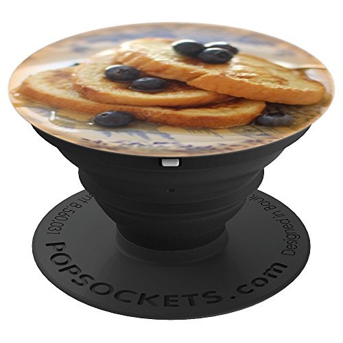 (Blueberry French Toast Breakfast on Vintage Blue Plate - PopSockets Grip and Stand for Phones and Tablets)