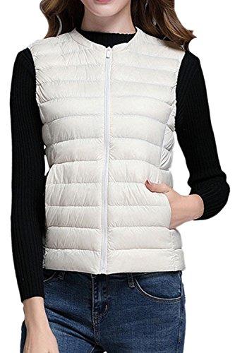 Invierno Cremallera Sevozimda Pato Abajo De Mujer Outcoat Chaleco Ultralight Casual Beige Acolchado La Blanco Chaqueta qgtxPgnzw