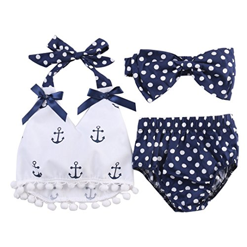 3Pcs Baby Girls Short Sleeve Lace Tops+Anchor Pants with Headband Outfits Set Sunsuit Clothes (0-6Months)