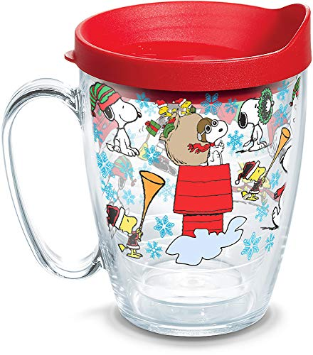 Tervis 1312737 Peanuts Christmas Collage Insulated Coffee Mug with Lid, 16 oz, Clear