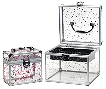 Caboodles Prima Donna Medium Case With Holographic Stars & Pink Dots Bonus Case 1