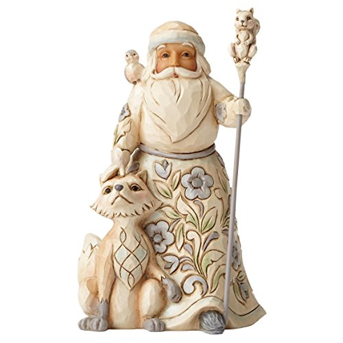 Jim Shore Heartwood Creek White Woodland Santa with Fox Stone Resin Figurine, 5.25