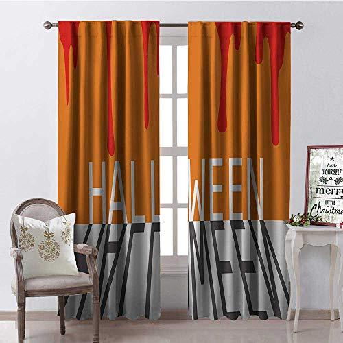 Hengshu Halloween Blood Spill Multicolor Room Darkening Wide Curtains Waterproof Window Curtain W96 x L84 -