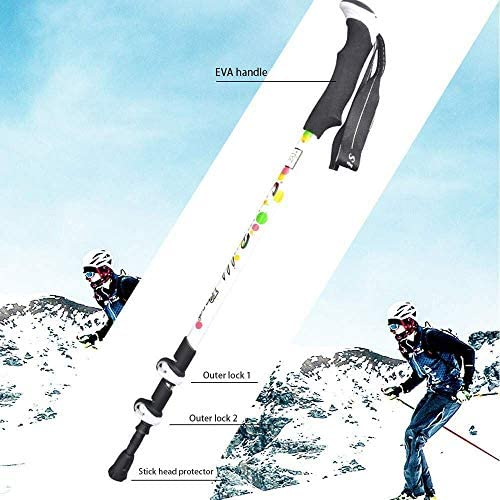 WFFF Offroad-Wanderstock - Griffarmband mit bequemem Trekkingstock, teleskopierbarem Aluminium-Skid-Kletterstock, stoßfestem System mit festem Schloss