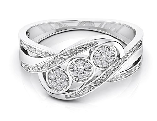 10K Gold Diamond Statement Anniversary Ring (0.10 Cttw Color G-H) (white-gold, 8.5) - 0.10 Cttw Natural
