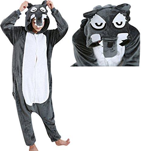 [JudyBridal Unisex Cartoon Wolf Onesie Adult Pajamas Cosplay Costume L] (Plus Size Tiger Costumes)