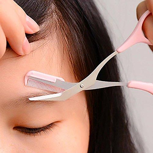 Eyebrow Scissors with Comb, Non Slip Finger Grips Eyebrow Trimmer Razor Tweezers Brush(Pink) FAVOLOOK