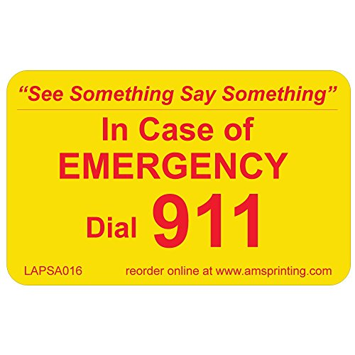 (Emergency 911 Phone Stickers,See Something Say Something, 100 Laminated Stickers on Yellow Gloss with Red Ink.)