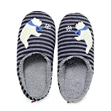 Women's Men's Stripe Slippers with Cute Bear Animal House Trick Plush House Shoes for Family Couples Cotton Knitted Indoor Shoes (US 9.5-10, Dark Grey)