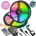 LED Light Strip 32.8ft, Jestar Flexible RGB Tape Light Kit Rope Lights with 44 Key Remote Controller & 12V 5A Power Supply 300 LEDs SMD 5050 IP65 Waterproof for Bedroom Room Kitchen TV