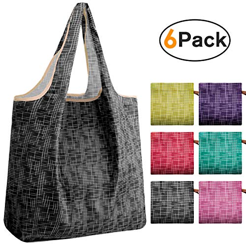 REGER Cloth Shopping Tote Groceries Bags Compact Pocket Light Weight Durable Eco Friendly Machine Washable 35lbs Capacity(Cube Pattern,Pack of 6)
