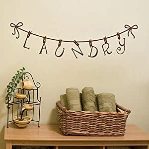 Laundry room wall decal quote clothespin wall for Dining room wall art amazon