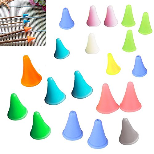 BoNaYuanDa 20 Pcs Knit Knitting Needles Point Protectors/Stoppers 2 Sizes For Knitting Craft(Needles Point Protectors)