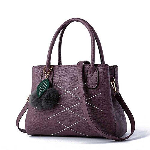 Handle Grande Purple Top Bandoulière Souple Capacité Sacs Cuir à à En Rétro Casual Main ZM Femmes Vintage Tote Sacs wq7PH0UUx