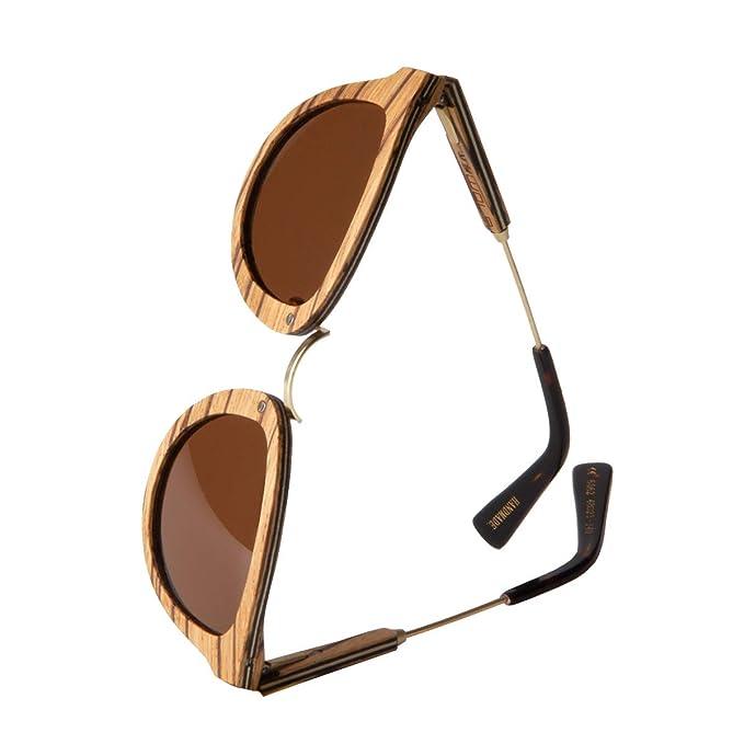 WOLA redonda gafas de sol en madera AQUA mujer y hombre ...
