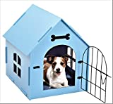 Tristar Products-us, Craft Wood Dog House, with Door And Window, Indoor Kennel for Small Dogs,Cats, Pet With Bed Mat (BLUE)