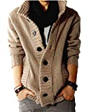 Nidicus Mens Wool High-Neck Rib Knit Cardigan Sweater with Button Front Apricot White S