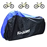 Aiskaer Nylon Waterproof Bicycle Cover Outdoor Rain Protector for 3 Bikes-dustproof and Sunscreen.Large Size for 29er Mountain Bike Cover, Electric Bike Cover (Black+Blue) Review