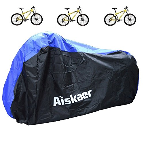 Aiskaer Nylon Waterproof Bicycle Cover Outdoor Rain Protector for 3 Bikes-dustproof and Sunscreen.Large Size for 29er Mountain Bike Cover, Electric Bike Cover (Black+Blue)