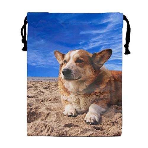 Burlap Bags with Drawstring Enjoyful Pug Pouches Sacks Bag for Wedding Favors, Party, DIY Craft