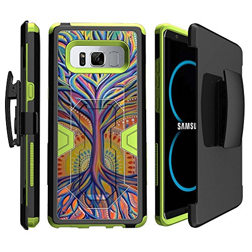 (MINITURTLE Case Compatible w/ Premium Green Hybrid Silicone Samsung Galaxy Note 8 Case w/ Clip [Green Max Defense Case for Galaxy Note 8 SMN950] Note 8 HighImpact Stand & BeltClip Case Colorful Tree)