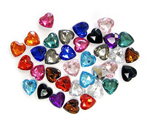 Linpeng 14MM Assorted Colors Faceted Heart Acrylic Gems-no.V-Approx. 30 Pcs/Pack]()