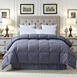 COSYBAY 100% Cotton Quilted Down Comforter Grey Goose Duck Down and Feather Filling - Hypoallergenic - All Season Duvet Insert or Stand-Alone -Queen(Gray)